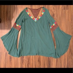 NWT Judith March Green Crochet Dress